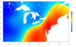Eastern North America with the first axis of an fPCA plot for precipitation mapped spatially